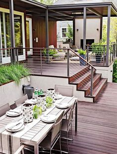Planning a new deck or a deck makeover? Browse these pictures of beautiful decks to find inspiration for materials, layout, decorating, and more. This trio of deck tours shows how to layer comfort and (Patio Step With Railing) Outdoor Rooms, Outdoor Living, Tiered Deck, Deck Makeover, Modern Deck, Modern Porch, Modern Backyard, Modern Farmhouse, Deck Pictures
