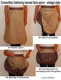 Vintage Sewing Convertible Gathering harvest farm apron vintage by sewbizzynancy - Sewing Aprons, Sewing Clothes, Diy Clothes, Diy Mode, Creation Couture, Vintage Mode, Vintage Style, Aprons Vintage, Sewing Projects For Beginners
