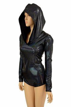Long Sleeve Black Holographic Romper with Black Zen Hood Liner Festival Rave Dance Clubwear Spandex