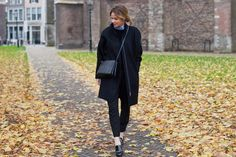 (COS coat and sweater, Zara shirt and trousers, Kurt Geiger shoes andCéline bag)
