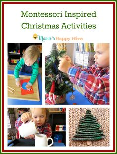 """8 Montessori inspired Christmas activities for toddlers and preschoolers to enjoy. This is also part of the """"15 Days of Montessori for the Holidays"""" series! - www.mamashappyhive.com"""