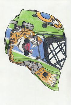 Jaguar Litografia colorida a lápis - capacete de hóquei Lithography and colour pencils - hockey mask