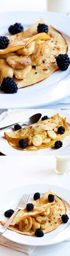 Banana Crepes #banana #brunch #crepes