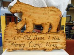 Rustic An Old Bear and his Honey Camp here 12x12 by MacsWoodSigns