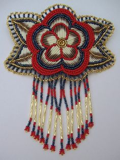 Beads & Porcupine Quills, Barrette (anyone know the name/nation of the artist?)