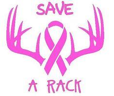 Hunting Deer Antler Skull Window Decal - Breast Cancer Awareness - Save a Rack
