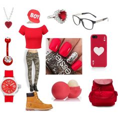 too red for school by speakerknockerz-728 on Polyvore featuring True Religion, Timberland, Hadaki, TW Steel, Tarina Tarantino, Kate Spade, claire's and Eos