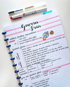 Anotações de Geografia - Guerra Fria #study #studygram #studyblr #studying #notes #handlettering #handwriting School Organization Notes, Notebook Organization, Bullet Journal Notes, Bullet Journal School, College Notes, School Notes, Class Notes, Lettering Tutorial, Study Journal