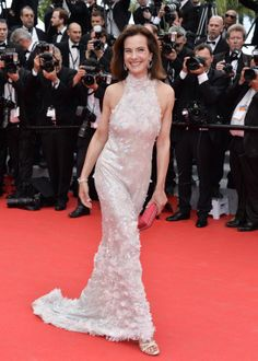 Carole Bouquet in a Spring 2014 halter dress with embroidered flowers. Grace of Monaco premiere, Cannes Film Festival, 2014.