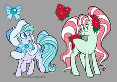 oh nooo when did it get to be December already? that last month just ran away from me. D: anyway here's this month's ponies, December Delight (left) and December Poinsettia (right). I've done Poinsettia before, so I tried to do something different…she still looks pretty similar. oh well! also, just a reminder that these are redesigns of existing ponies, not OCs. please don't tag them as OCs!