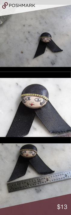 Cutest pin brooch #170928001 Adorable flapper/ 1920's inspired pin. Cute on coat cuffs and totes/ backpacks. Jewelry Brooches