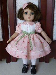 """Rose Colored Roses Dress for 10"""" Tonner Patsy Doll Made by Apple"""