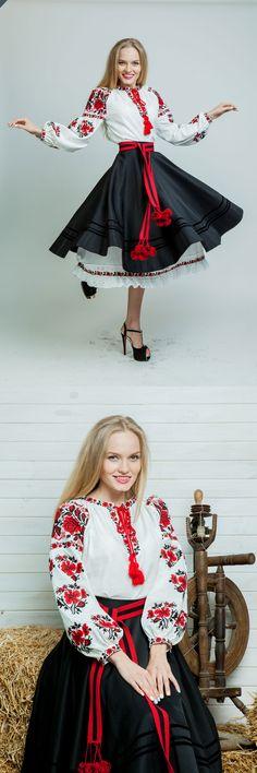 Ethnic Fashion, Womens Fashion, Ukrainian Dress, Embroidered Clothes, Russian Fashion, Folk Costume, Little Dresses, Cool Costumes, Feminine Style