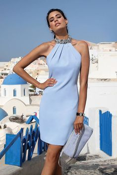 Linea Raffaelli - short powder blue dress with a high neckline and beading on the collar