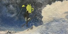 Deep Powder encaustic ski painting by Lee Anne LaForge Bear Paintings, Cute Paintings, Sports Painting, Blue Office, Cast Glass, Blue Color Schemes, Encaustic Painting, Canadian Artists, Painted Doors