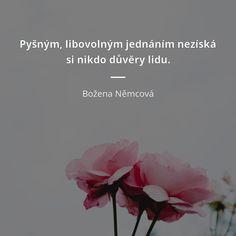 Pyšným, libovolným jednáním nezíská si nikdo důvěry lidu. - Božena Němcová #důvěra