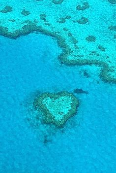 An aerial view of Heart Reef in Central Great Barrier Reef, Queensland, Australia.