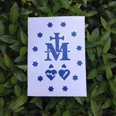 """Miraculous Medal Vinyl Decal. Car Decal, Window Decal, Laptop Decal, Sticker, Tumbler Decal, Yeti Decal, Catholic, Sacred Heart, Mary, Religious, 5""""h x 3.5""""w."""