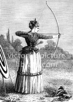 Woman practising archery with bow and arrows – Victorian Picture Library Victorian Women, Victorian Era, Victorian Fashion, Archery Clothing, Woman Archer, Archery Hunting, Deer Hunting, Victorian Portraits, Victorian Illustration
