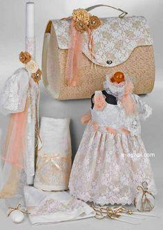 Greek baptism set Orthodox christening greek girl by eAGAPIcom Godparent Gifts, Godchild, Greek Wedding, Wedding Sets, Lace Candles, Greek Girl, Baptism Candle, Burlap Lace, Candle Set