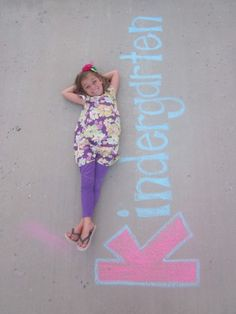 First day of school! (would take a decent amount of chalk, but cute idea) :)