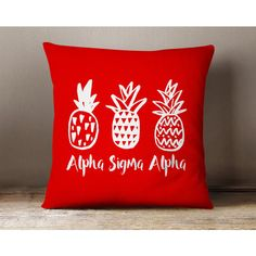 Asa Alpha Sigma Alpha Pineapple Pillow Choose Your Pillow Color ($28) ❤ liked on Polyvore featuring home, home decor, throw pillows, decorative pillows, grey, home & living, home décor, gray throw pillows, pineapple home decor and grey accent pillows