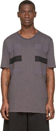 Silent by Damir Doma Grey Patchwork Stripe Tuban T-Shirt