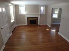 Living Room with fireplace and hardwood floors!