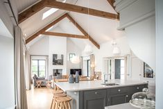Marlacoo House, Co. Armagh — Paul McAlister Sustainable and Passive House Architects - Portadown, Belfast, Northern Ireland House Designs Ireland, Country House Interior, House, Home, Living Room And Kitchen Design, Log Home Kitchens, Passive House, Modern Kitchen Design, Bungalow House Design