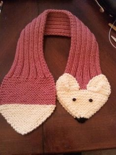 ADJUSTABLE KIDS Fox Scarf Hand Knit Scarf / neck by QuiltNCrochet