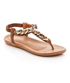 This Brown Randa Chain-Accent Sandal is perfect! #zulilyfinds