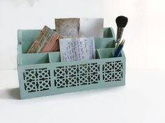 Vintage Shabby Chic Mint Green Letter Mail Organizer, Distressed Wood Desk Organizer, Cottage Chic Letter Holder
