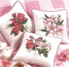 Needle-Works Butterfly: Wonderful Cross Stitch Pillows ''cushions'' Pink Wild Roses.