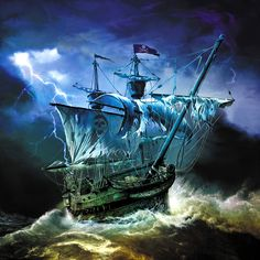 pirate ships | Photos - Blue, Drawings, Lightnings, Pirates, Ships, by Mark Wilkinson