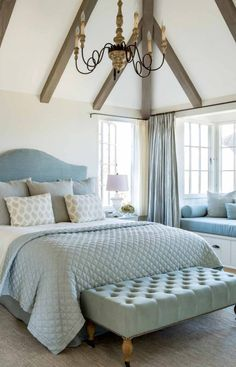 Beautiful French Country bedroom decor in a tranquil and timeless romantic feminine bedroom in a modern farmhouse in California by Giannetti Home. Lig… - ALL ABOUT Beach House Bedroom, Beach House Decor, Home Bedroom, Bedroom Decor, Bedroom Ideas, Bedroom Curtains, Beach Houses, Teen Bedroom, Beach Cottages