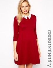 ASOS Maternity Knitted Skater Dress with Lace Collar