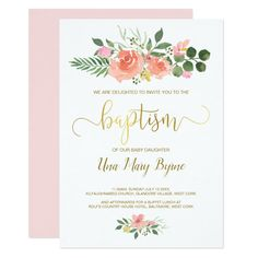 Faux gold & pink blush rose baby girl baptism invitation #gender #neutral #baptism #baby #girl #invitation