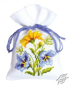 Blue/Yellow Flowers II - Cross Stitch Kits by VERVACO - PN-0146040