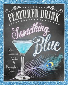 FEATURED DRINK Signs Illustrated Cocktail Prints by RockinChalk These charming chalk style signature drink signs are perfect for weddings, birthdays, and special events! Made to order, personalized hand drawn and digitally printed, these will ship to you ready to frame and display at your event!