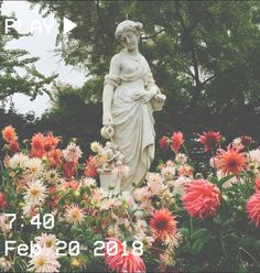 M O O N V E I N S 1 0 1       #vhs #aesthetic #flowers #statue #spring #trees #pink #green