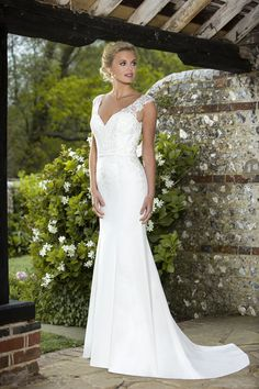 Simple and Elegant V-Neck Chiffon Wedding Dress with Open Low Cowl Back, Illusion Lace Detailing and Removable Extended Train Designer Wedding Dresses, Bridal Dresses, True Bride, Vintage Inspired Dresses, Beaded Lace, Chiffon Dress, Dress Collection, Cowl, Carlisle
