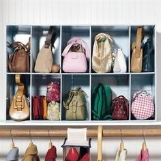 great idea for storing purses on a closet shelf