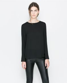 ZARA - WOMAN - BLOUSE WITH FAUX LEATHER PIPING