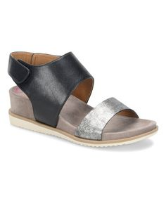 Look what I found on #zulily! Black & Anthracite Leslie Leather Sandal #zulilyfinds