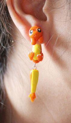 Charmander Pokemon Earrings Polymer Clay by ArtzieRush on Etsy