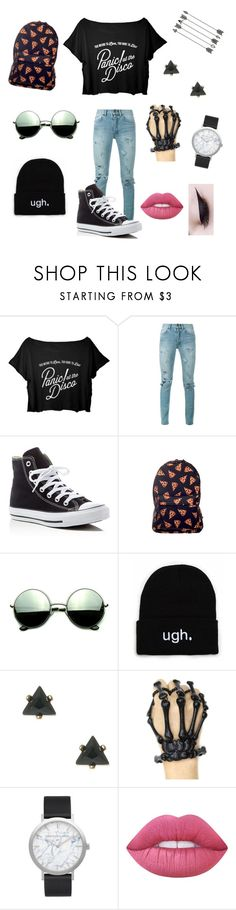 """""""Panic!"""" by gracelovesanimals ❤ liked on Polyvore featuring Yves Saint Laurent, Converse, Revo, Elwood and Lime Crime"""
