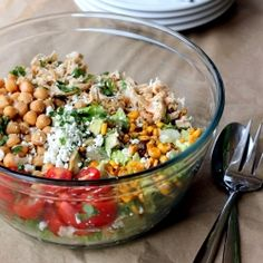 Healthy Chicken Chickpea Chopped Salad with avocado & goat cheese.