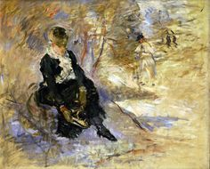 """""""Young Woman Putting on Her Skates,"""" Berthe Morisot, 1888, oil on canvas, 18.11 x 21.65"""", private collection."""
