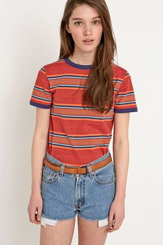 Cooperative Stripe Ringer Tee in Orange - Urban Outfitters Cool Outfits, Summer Outfits, Fashion Outfits, Urban Outfitters, Ringer Tee, Vogue Fashion, T Shirts, Tees, Mannequin