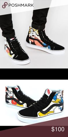 Disney vans limited edition Disney vans sneakers Mickey/goofy/Donald duck/Pluto theme high tops. Size 7, lightly used!! Cheaper on merc. Will post actual pics tomorrow Monday. Disney Shoes Sneakers